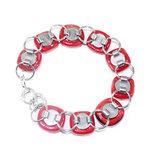 Rode glazen armband met edelstaal 304 RVS basis schakelarmband