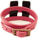 Roze wrap armband (3 x om de pols wikkelen) met bronskleur gesp sluiting