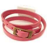 Roze leren armband met bronskleurige gesp sluiting