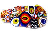 Unieke speld met glazen cabochon van multicolor millefiori cirkels!