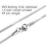 RVS Edelstaal ketting, 44 cm. lengte 1,5 mm. ronde schakels. Hoogwaardig 316L stainless steel