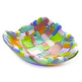 Unieke vrolijk gekleurde schaal in roze, oranje, blauw, groen en lila tinten.