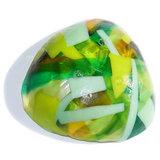 Onderzijde groene glazen schaal