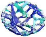 Handgemaakte ronde blauw-turquoise glazen millefiori schaal