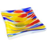 Handgemaakt blauw met rood en geel glazen schaaltje.