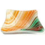 Handgemaakt oranje-wit-turquoise glazen schaaltje/theetipje van glas