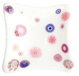 Handgemaakt wit glazen schaaltje met roze en lila millefiori!