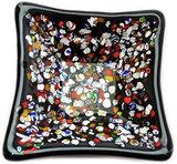 Handgemaakt zwart glazen schaaltje met kleurrijke accenten, glasfusing uit eigen atelier!