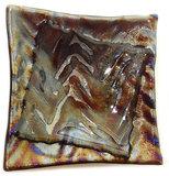 Glazen zilver-goud-paars metallic schaaltje/theetipje