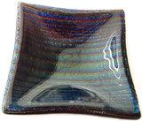 Klein glazen schaaltje van paars-blauw-groen metallic glas!