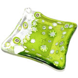 Handgemaakt groen schaaltje van millefiori glas! Uniek theetipje
