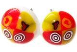 Handgemaakte geel met rode millefiori oorstekers van glas! Chirurgisch staal