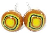 Handgemaakte bruin-gele glazen oorknopjes, originele RVS oorbellen