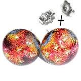 Rode glazen oorstekers van RVS/edelstaal. Geleverd met RVS oorbelstoppers