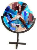 Handgemaakte glaskunst object uit eigen atelier. Rond paars-roze-blauw paneel gemaakt van speciaal glas!