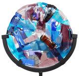 Glasfusing paneel van diverse paars, roze, blauwe glassoorten met luxe iriserende metallic accenten.