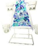 Handgemaakte blauwe glazen kerstboom met houders voor waxinelichtjes!