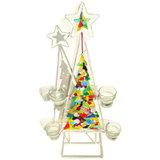 Decoratieve kaarsen standaard voor kerst met glasfusing kerstboom en kerstster. Exclusieve kleurrijke glasfusing.