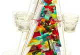 Kleurrijke glasfusing kerstboom met alle kleuren van de regenboog!