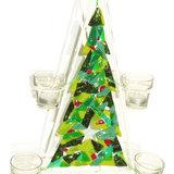 Groen met rode glazen kerstboom met houders voor waxinelichtjes. Unieke kerstdecoratie.