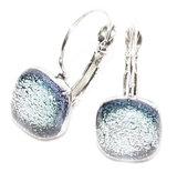 Zilveren glazen oorbellen met klaphaken