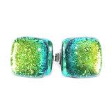 Groene oorstekers van RVS met glasfusing.