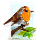 Glazen roodborstje van glas gemaakt. Unieke glaskunst vogel uit eigen atelier.