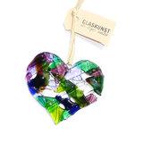 Glazen hart hanger gemaakt van helder groen, paars, lila en blauw gekleurd glas.
