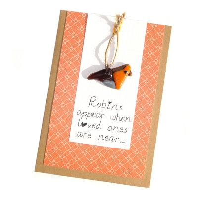 """Wenskaart - Roodborstje """"Robins appear..."""""""