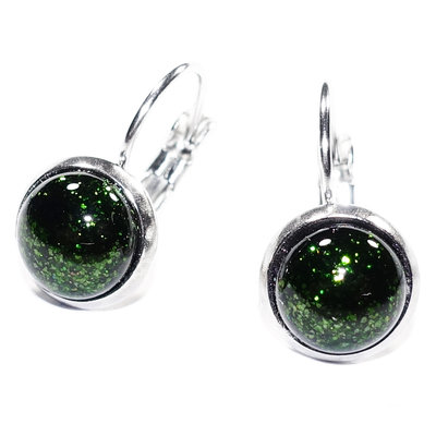 RVS Oorbellen Green Sparkle