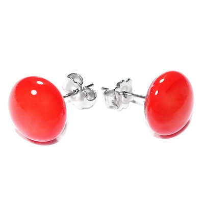 Oorstekers Chirurgisch Staal Opak Tomato Red
