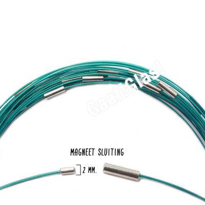 Spang met magneetsluiting, Turquoise, 46 cm.