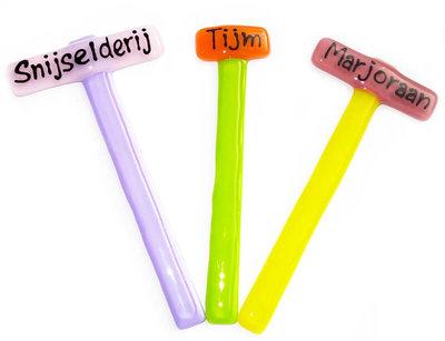 Glazen plantenstekers, set van 3 (Marjoraan,Tijm,Snijselderij)