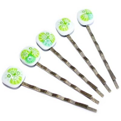 Haarschuifjes Green Flowers - Set van 5