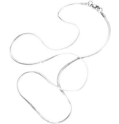 RVS ketting, 45 cm. lengte, 1,5 mm. platte schakels