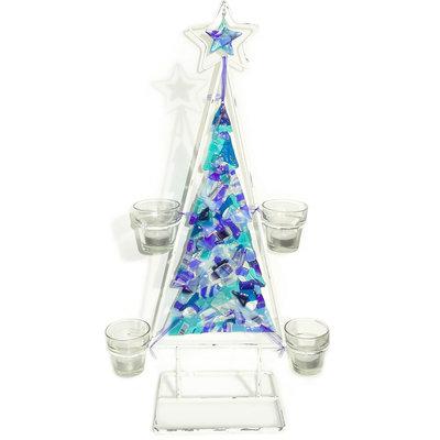 Kerstboom Waxinelichthouder Blue Variety