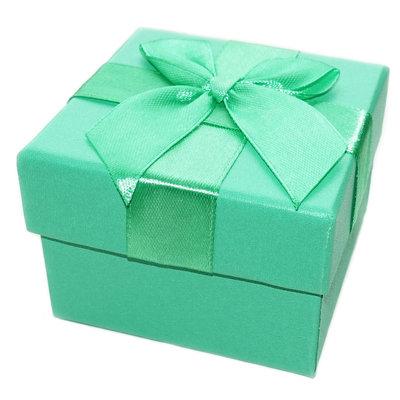 Luxe groen cadeaudoosje met strik, per stuk