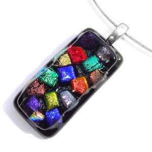 """RVS hanger van zwart glas met kleurrijke """"blokjes"""" in rood, oranje, blauw, groen, roze, paars en zilver t"""