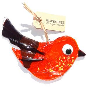 Glazen vogel hanger van helder oranje en paars gekleurd glas met luxe goudkleurige accenten.