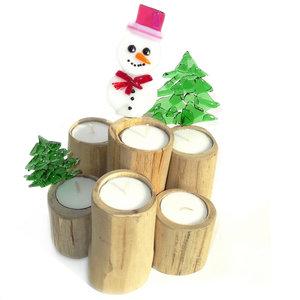 Waxinelichthouder voor kerst! Teakhout met glasfusing sneeuwpop en kerstbomen!