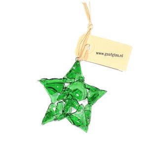 Glazen kerstster van prachtig helder groen glas! Duurzame kerst decoratie gemaakt van gerecycled glas!