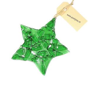 Groene glazen kerstster van helder groen glas! Duurzame kerst decoratie gemaakt van gerecycled glas!