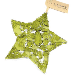 Grote glazen kerstster van helder olijf groen glas!