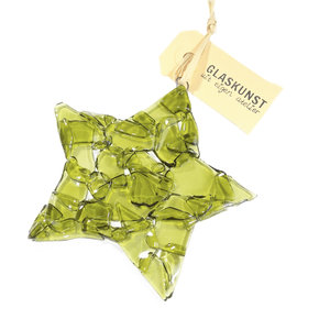 Olijfgroene glazen kerstster van helder groen glas!