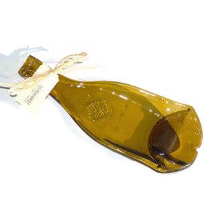 Glazen hapjesschaal van een olijfgroene wijnfles. Eenmalige handgemaakte schaal uit eigen glasatelier!