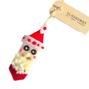 Glazen kerstman hanger met mooie details. Unieke kerst decoratie van speciaal glas!