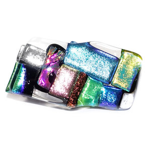 Glazen broche speld van luxe glassoorten in roze, blauw, zilver, groen, koper, rood en geel-goud!