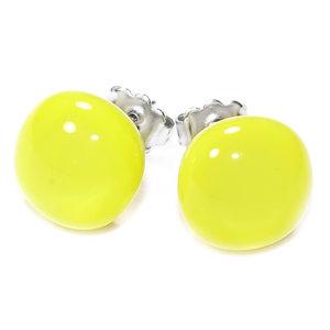 Handgemaakte gele oorknopjes van effen geelglas!