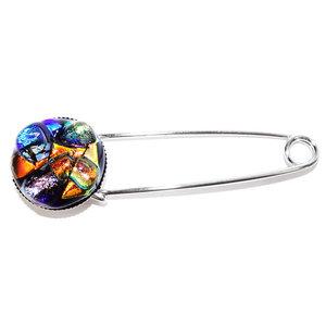 Luxe kleurrijke speld broche met glaskunst uit eigen atelier.