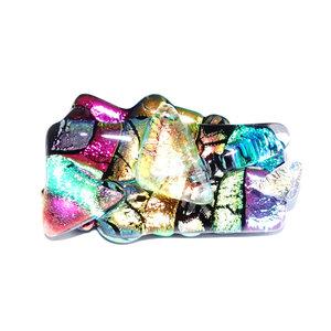 Kleurrijke speld/broche om je kleding mee op te fleuren! Glaskunst speld uit eigen atelier.